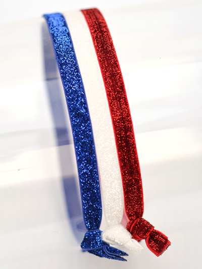 red, white, blue glitter headbands