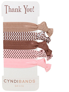 brown pink hair ties thank you gift