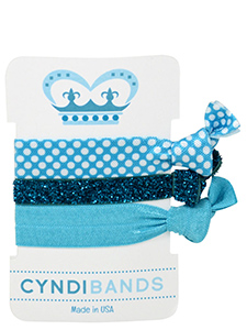 turquoise princess hair ties 3 pack