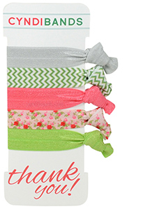 coral green hair ties thank you gift