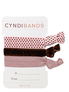 pink hair ties gift card arm candy