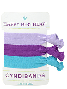 happy birthday hair ties 3-pack