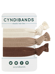 cream brown hair ties 3-pack