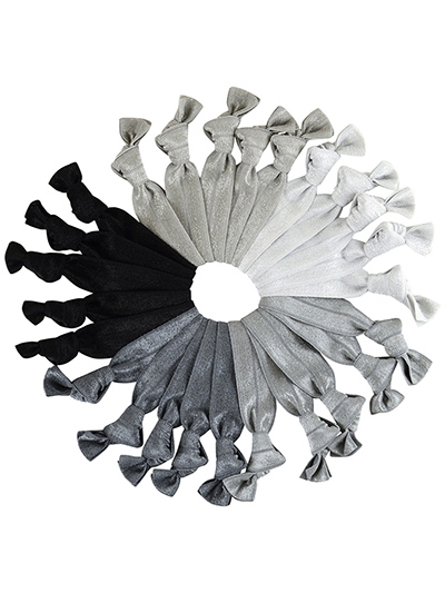 grey hair ties mega set of 25