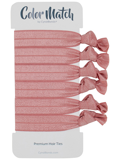 Pink Rose Gold Color Match Knotted Ribbon Hair Ties At Cyndibandscom