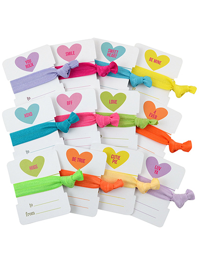 valentines day cards heart hair ties