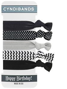 happy birthday gift card hair ties