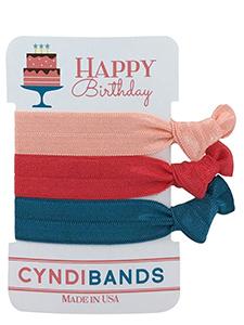 happy birthday cake 3 pack hair ties