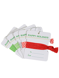 hair ties happy holidays gift tags