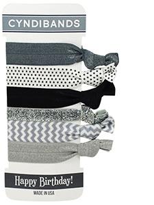 happy birthday 6 pack hair ties