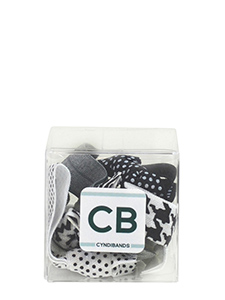black and white hair ties gift cube