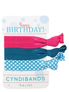 pink blue happy birthday hair ties