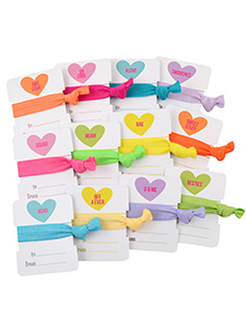 valentine heart hair ties 12 pack