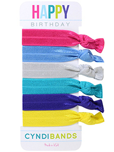 happy birthday hair ties 6 pack